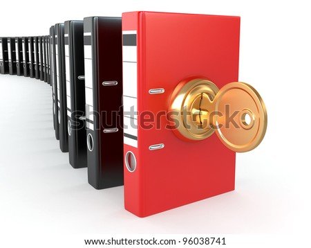 Data security. Information protection. Folders and key. 3d - stock photo