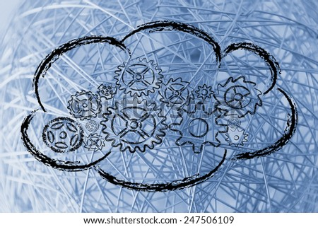 data security on cloud computing, cloud with internal gearwheel mechanism - stock photo