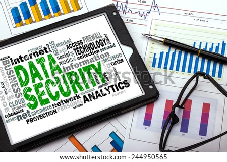 data security word cloud with related tags - stock photo