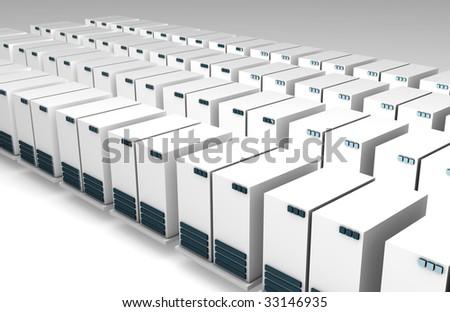 Data Servers as a Web Background on White - stock photo