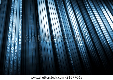 Data steam, binary code - stock photo