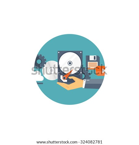 Data storage. Cloud computing. Flat background. Web storage. Folder and documents. information transfer. Internet search and media server. - stock photo