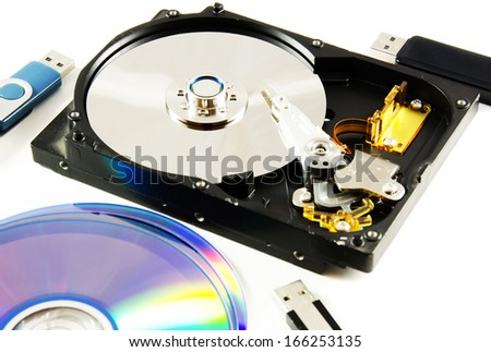Data storage devices isolated over white background. - stock photo