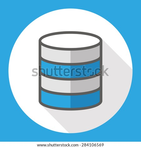 data storage  flat icon with long shadow