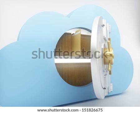 Data storage with cloud computing technology - stock photo