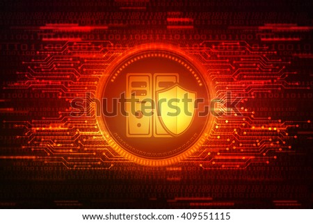 Data storage with shield. Data security concept. - stock photo