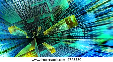 Data stream flowing down through Cyberspace - stock photo
