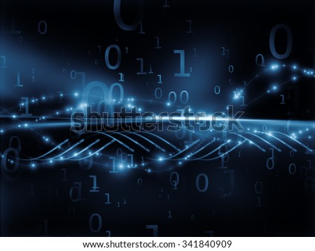 Data Stream series. Interplay of horizontal light rays and technological elements to serve as background in projects on technology and science - stock photo