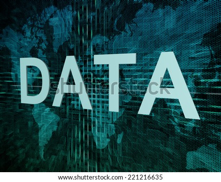 Data text concept on green digital world map background