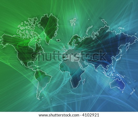 Data transfer over a map of the world green blue background - stock photo