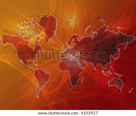 Data transfer over a map of the world red orange - stock photo