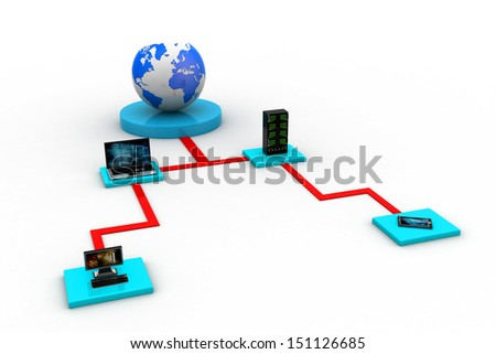 Data transfering concept isolated on white background - stock photo