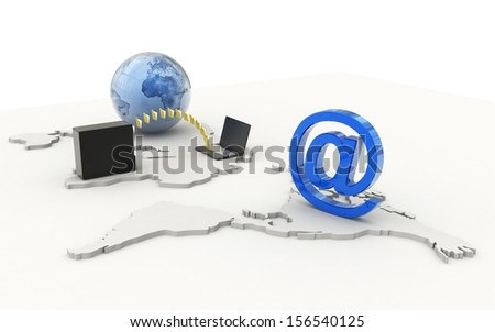 Data transferring concept in white background - stock photo