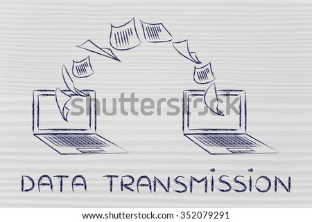 data transmission concept: laptops with documents flying from one screen to the other - stock photo