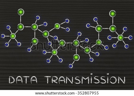 data transmission: technology and internet inspired abstract glowing network illustration