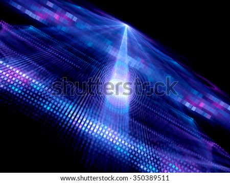 Data tunnel in quantum computing, computer generated abstract background - stock photo