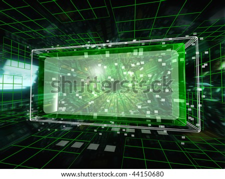 Data unit in the cyberspace - stock photo