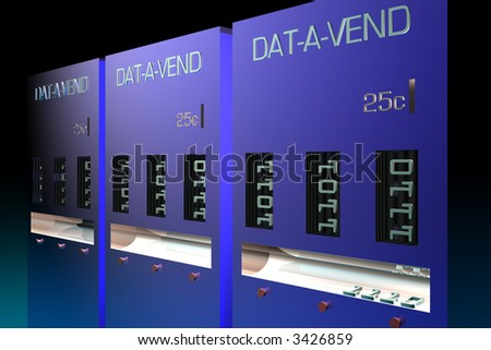 Data vending machines in row - stock photo