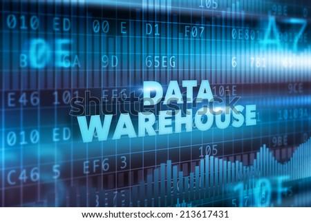Data warehouse technology concept blue text - stock photo