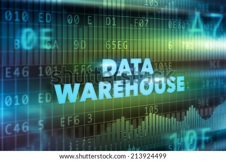 Data warehouse technology concept with blue text - stock photo