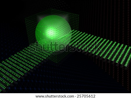 data warehouse with binary code flowing in. 3d cyberspace illustration of database storage concept - stock photo