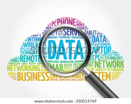 Data word cloud with magnifying glass, concept - stock photo