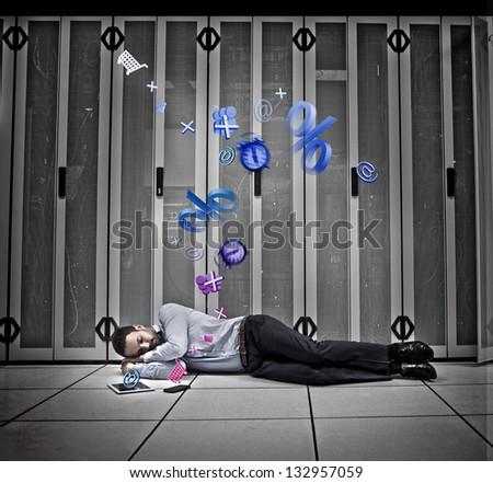 Data worker dreaming of applications on floor of data centre