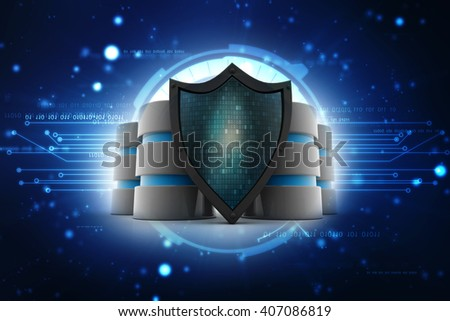 Database and computer data security concept: metal hard disk icon covered by protection shield - stock photo