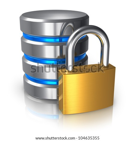Database and computer data security concept: metal hard disk icon with golden padlock isolated on white background with reflection effect - stock photo