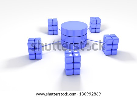 Database and network architecture isolated over white background - stock photo