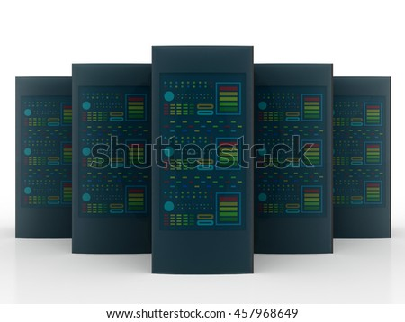 Database and networking concept,3d rendering