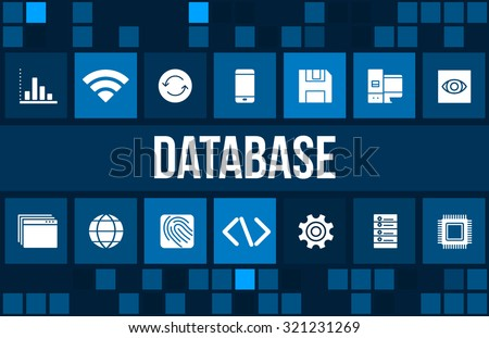 Database concept image with technology icons and copyspace - stock photo