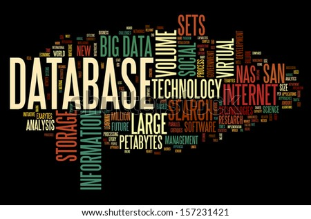 Database concept in word tag cloud on black background - stock photo
