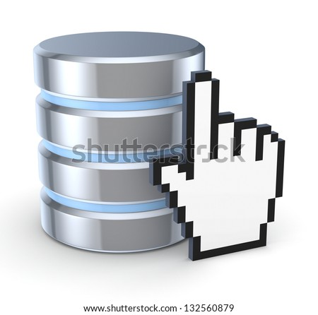 Database concept.Isolated on white.3d rendered. - stock photo