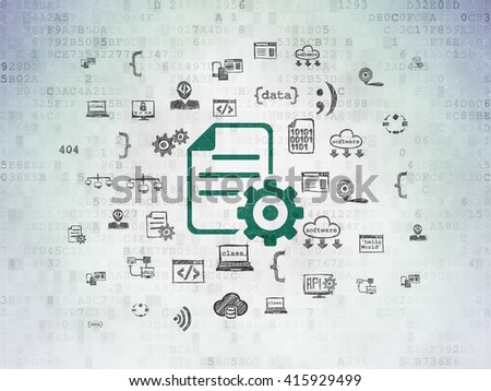 Database concept: Painted green Gear icon on Digital Data Paper background with  Hand Drawn Programming Icons - stock photo