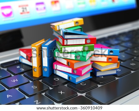 Database or archive concept. Data storage. Laptop and file cabinet with ring binders. 3d - stock photo