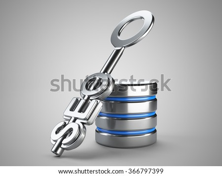 Database search optimization concept. Silver key with word seo on grey background. 3d render - stock photo