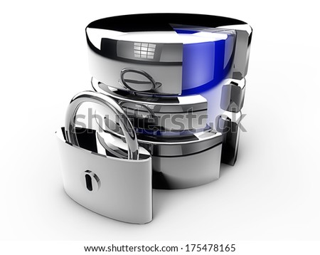 Database security chrome look over white background - stock photo