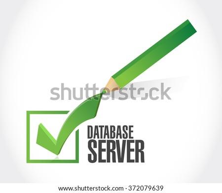 database server check mark sign illustration design graphic - stock photo