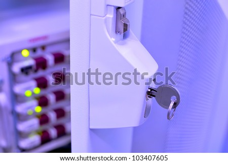 database server protection and security concept - stock photo