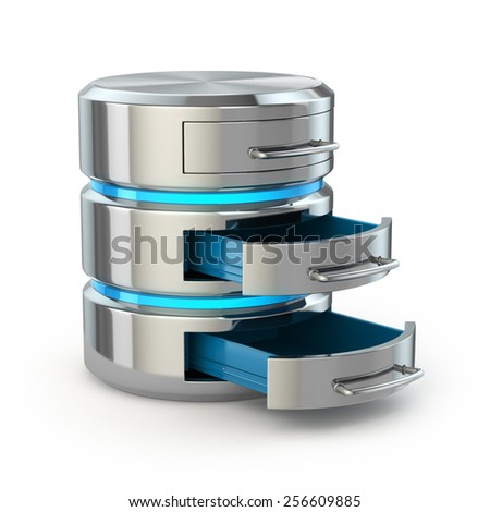 Database storage concept. Hard disk icon isolated on white. 3d - stock photo