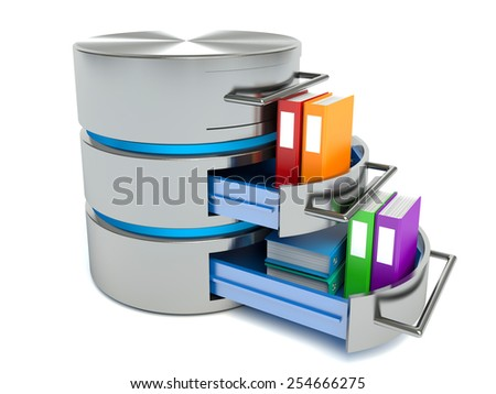 Database storage concept. Hard disk icon with folders - stock photo