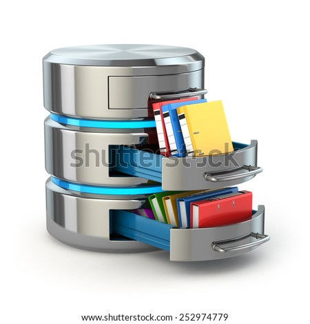 Database storage concept. Hard disk icon with folders  isolated on white. 3d - stock photo
