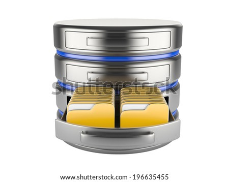 database storage concept on servers in cloud. 3D image isolated on white - stock photo