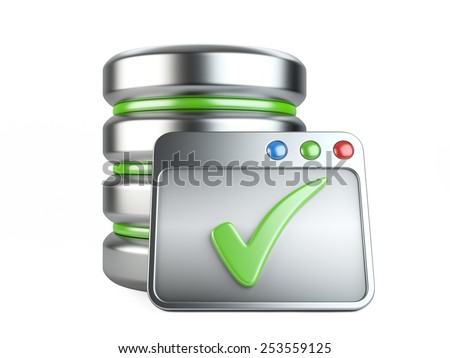 Database storage concept with Ok sign. 3D image isolated on white - stock photo
