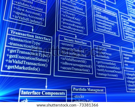 database structure - 3d background - stock photo