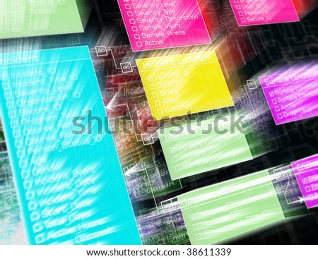 Database structure. Futuristic design with lighting effect. - stock photo