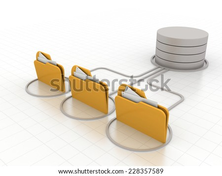 database symbol connected to computer folder icons - stock photo
