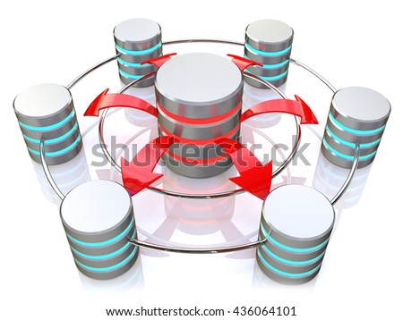 Database symbol connected to metal hard disk icons (3d render) in the design of information related to internet. 3d illustration - stock photo