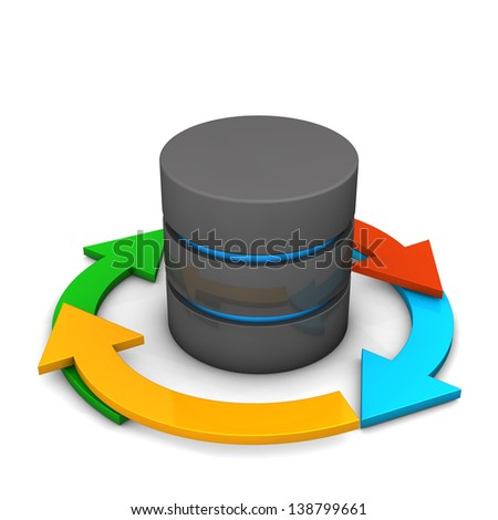 Database with colorful arrows on the white background. - stock photo